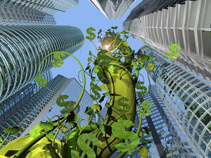 Vine with dollar signs growing near highrise buildings