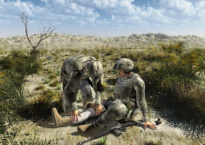 Soldier helping wounded comrade