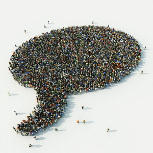 Aerial view of people arranged in speech bubble