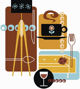 Retro montage of lamp, coffee, fork, sofa and wine glass