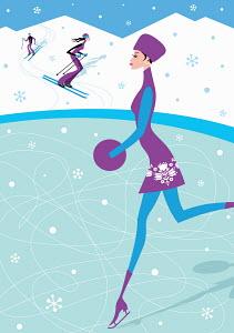 Woman ice skating on pond