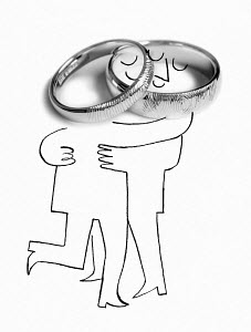 Married couple hugging with wedding ring-shaped heads