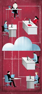 Business people cloud computing at desks