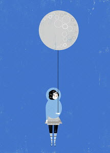 Girl holding full moon balloon