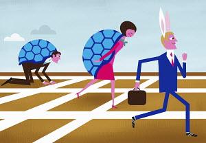 Businessman wearing hare ears winning race with business people in tortoise shells
