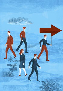 Business people walking in same or opposite direction to man carrying arrow