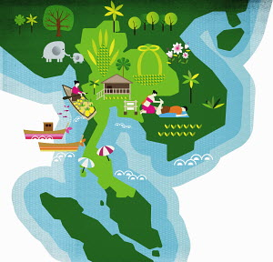 Nature and travel images over map of Thailand Southeast Asia