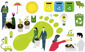Montage of eco-friendly symbols and business people caring about carbon footprint