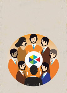 Circle of business people surrounding geometric shape