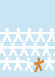 Orange stick figure standing out from the crowd in white paper chain