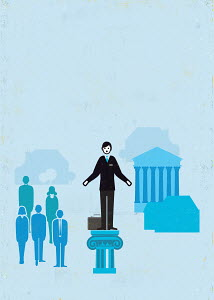 Businessman standing out from the crowd on pedestal