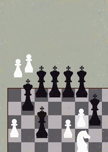 Unfair advantage chess game with lots of king pieces