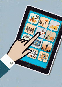 Close up of businessman's hand using mobile apps on bright color digital tablet