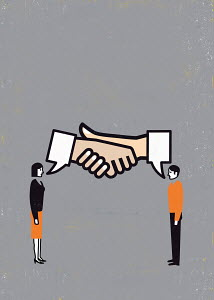 Speech bubbles shaking hands above businessman and businesswoman