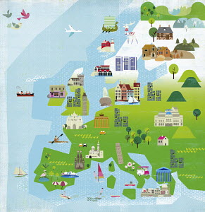 Illustrated tourism map of Europe
