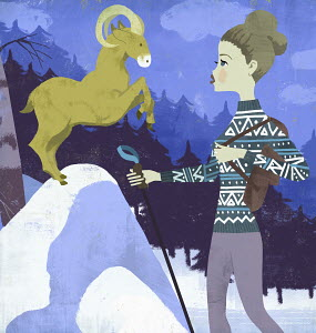 Young woman hiker face to face with a ram as Aries zodiac sign