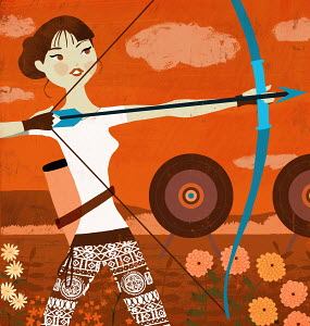 Young woman archer aiming bow and arrow at target as Sagittarius zodiac sign