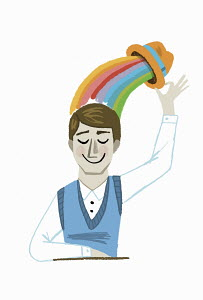 Happy man lifting hat with rainbow above head
