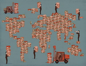 Businessmen moving data storage files around world map