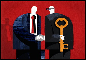 Businessmen shaking hands one with a keyhole in chest the other holding key