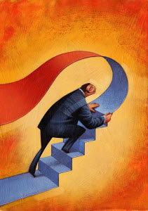 Businessman creating staircase