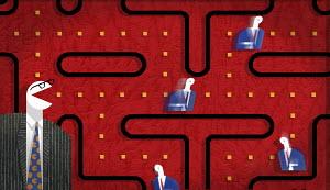 Businessmen in pac-man game diagram