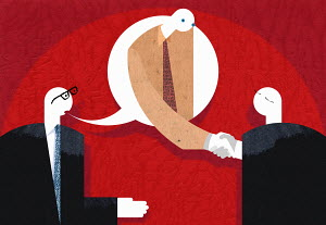 Businessman in speech bubble shaking hands with co-worker