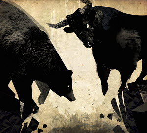 Bull and bear at the edge of crumbling cliff