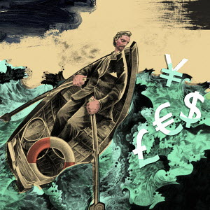 Man rowing boat in stormy ocean to rescue currency symbols