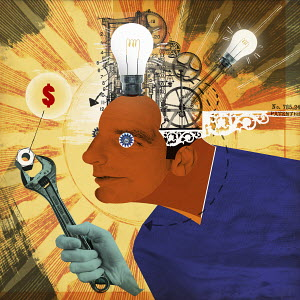 Light bulbs and cogs inside of head of man adjusting dollar sign with wrench