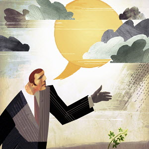 Businessman forecasting improvement with sun speech bubble and green shoot
