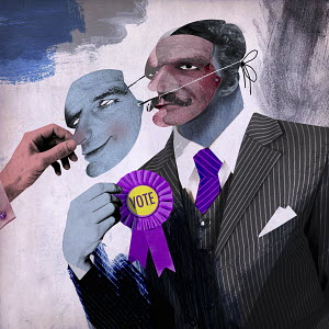 Man removing mask from untrustworthy politician