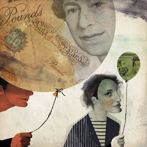 Man holding large British banknote balloon contrasting with small balloon held by woman