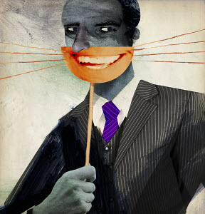 Businessman behind grinning cat's whiskers mask