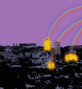 Rainbows lighting up urban buildings