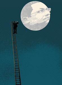 Businessman on ladder talking to man in the moon