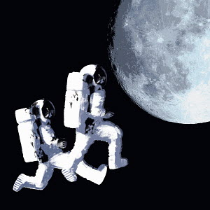 Astronauts space walking toward moon