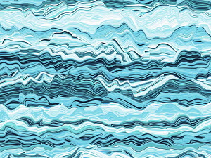 Abstract wavy line shape with blue colors