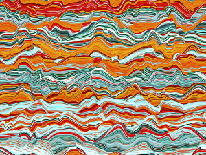 Abstract wavy line shape with blue and orange colors