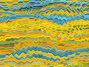 Abstract wavy line shape with blue and yellow colors