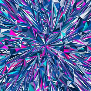 Vibrant angular blue and pink abstract pattern