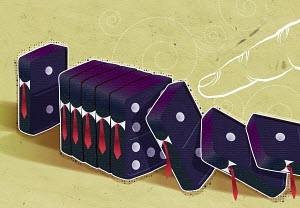 Finger pushing over businessman-shaped dominoes