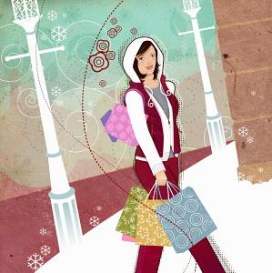 Woman carrying shopping bags through snow