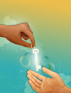 Hands exchanging glowing key