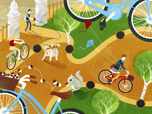 Man walking dog and people riding bikes in park