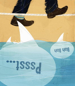 Man's feet walking tightrope above shark gossip speech bubbles