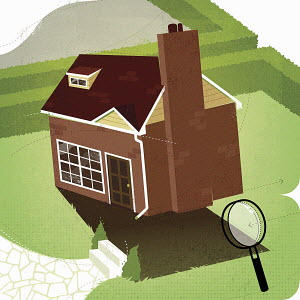 House tilted up with magnifying glass inspecting underneath