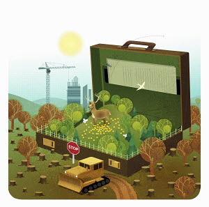 Lush green countryside inside of briefcase surrounded by deforestation