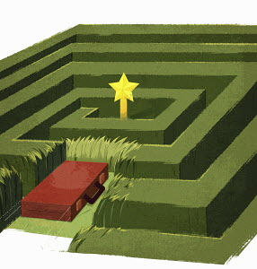 Briefcase cutting a swath through to center of maze by direct route