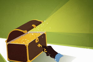 Hand opening treasure chest full of gold coins